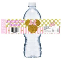 PINK AND GOLD GLITTER MINNIE BIRTHDAY PARTY FAVORS WATER BOTTLE LABELS WRAPPERS