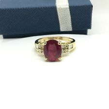 14k Yellow Gold Ruby And Diamond Ring. July Birthstone