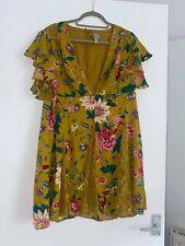 Asos Floral Mustard Dress UK 18
