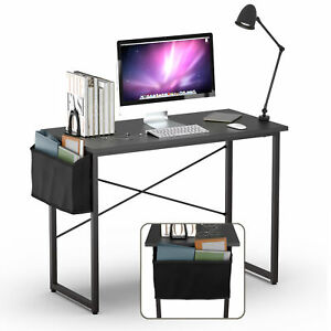 """Modern Computer Desk 40"""" Study Writing Table Home Office with Storage Bag Black"""