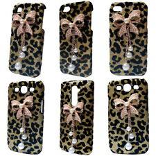 3D Bling Deluxe Shiny Leopard Pearls Bow Pendant Hard Back Case Cover for Phones