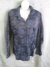 French Laundry Shirt Size Large Floral Print Shiny Dressy Top Silk Blend