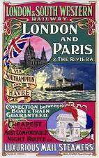 LONDON & PARIS Vintage Railroad Train Travel Poster Rolled CANVAS PRINT 24x36 in