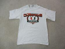 Miami Hurricanes Shirt Adult Medium White Orange Rose Bowl Football Mens *