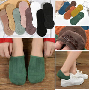Women Invisible Non-slip Short Socks Casual Cotton Breathable Solid Ankle Socks