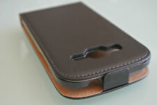 For Samsung Galaxy Core Prime Black Genuine Leather Classic Flip Case Cover
