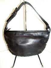 VIA SPIGA Black Soft Leather Ruches Trim Baguette hobo Handbag NEW