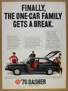 1976 VW Volkswagen DASHER dark green car color photo vintage print Ad