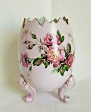 Pink Porcelain Egg Vase Hand-Painted Floral, Roses Gold Trim1950's