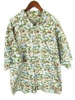 The Territory Ahead Mens Button Front Short Sleeve Camp Shirt XL Estimate No Tag