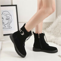Women Suede Lace Up Low Heels Ankle Boots Round Toe Clubwear Bootie Riding Shoes