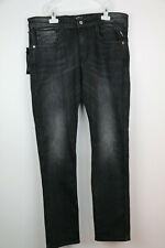REPLAY ANBASS Men's Slim Fit Power Stretch Denim Black Jeans,W34 L32 RRP £115