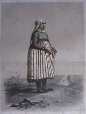 1872 PRINT SWEDISH PEASANT COSTUME ~ DISTRICT HARJAKER WOMAN Skanska Folkdragter