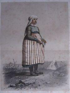 1872 PRINT SWEDISH PEASANT COSTUME ~ DISTRICT HARJAKER WOMAN Skanska Folkdragter