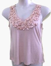 Talbots L Tank Top Shell Pink Nude Embellished Stretch 3D Ribbon Knit Lyocell
