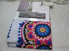 New J Jakson SASHA MEDALLION Fabric Shower Curtain & 12 Hooks ~ Multi Colors NIP