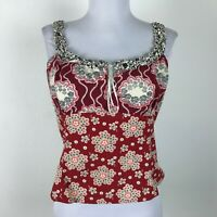 Elevenses Tank Top Size 10 Red Blue Floral Ruffles Cotton Womens Crop Blouse