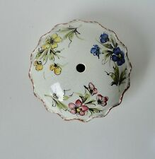 Vintage Italian Ceramic Cap for Ceiling. Lamp Part. Hand Painted Flowers.