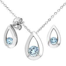 9ct White Gold 0.60ct Blue Topaz Teardrop Earrings and Pendant Set. HUGE Saving