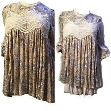 JODIFL Womens Size L Boho Embroidered Lace Bohemian 3/4 Sleeve Top Blouse Tunic