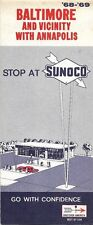 1968 SUNOCO OIL Road Map BALTIMORE ANNAPOLIS Maryland Towson Catonsville Essex