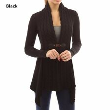 UK Womens Long Sleeve Knitted Sweater Jumper Ladies Knitwear Tops Cardigan Coat Black 14