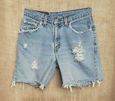 Levi's 517 Jean Shorts Cut Off Distressed Light Wash Red Tab Size 7 Jr