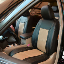 Universal PU LeatherTwo Front Beige Black Car Seat Covers Set Breathable Cream