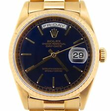 Mens Rolex Day-Date President Solid 18KT 18k Yellow Gold Watch Black Dial 18238