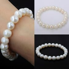 Fashion Natural Pure White Freshwater Pearl Bracelet Stretch Wedding Jewelry