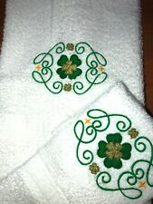 Embroidered Bathroom Hand Towel and Wash Cloth Shamrock with Swirls H1478