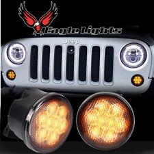 Eagle Lights 8700TS Smoked Amber LED Turn Signals for Jeep Wrangler Plug + Play