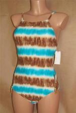 Michael Kors Women's Size 8 Turquoise & Beige Tie Dye Maillot One-Piece Swimsuit