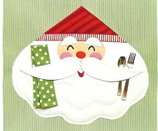 New Placement Pattern  SMILING SANTA With Napkin and Flatware Holder