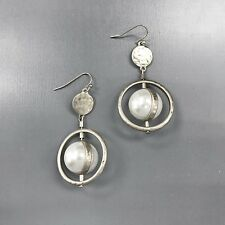 Unique Silver Finish Hammer Hoop Spin Pearl Bead Charm Drop Dangle Post Earrings