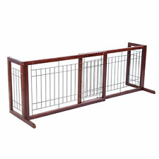 Free Standing Adjustable Indoor Hallway Staircase Deck Pet Dog Gate Wood Fence