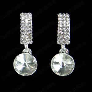 CLIP ON non-pierced CRYSTAL silver rhinestone EARRINGS curved huggie PROM BRIDAL