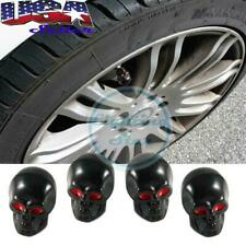 4pcs Wheel Air Valve Stem Tire Caps For Car Bike Matte Black Red Eyes Skull Head