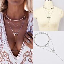 Sexy Fashion Women Multi-layer Collar Moon Chain Pendant Necklace