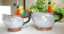 Vintage Purple Lusterware Sugar Bowl No Lid & Creamer Bird Handles Japan