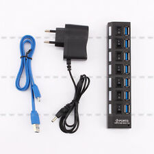High Speed + AC Power Adaptor PC Laptop Mac Plugable 7 Port USB3.0 HUB 5Gbps