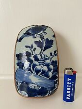 Vintage Antique Chinese Blue & White Porcelain Repousse Metal Mounted Box 20th C