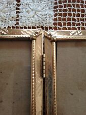 Vintage Double Hinged Etched Chevron Design Brass Picture Frame 5 X 7