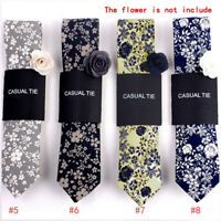 Fashion Men Floral Print Tie Suit Skinny Ties Slim Cotton Neck Tie Necktie P,