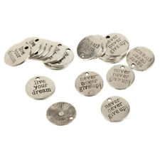 20Pcs Mixed Assorted Charms Quote Pendants Silver for DIY Bracelets Necklace