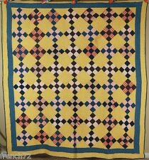 Classic Vintage 1890's Nine Patch on Point Antique Quilt ~Nice Yellow Background