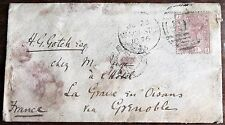 Victorian Letter - 1876 – Manchester to Grenoble with 2½d Pink – TWO French TPO