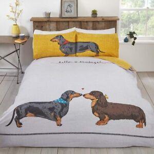Dachshund Sausage Dog Duvet Cover Animal Print Reversible Bedding Set Cover