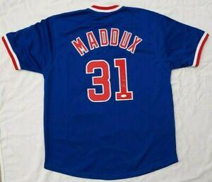GREG MADDUX Chicago Cubs Signed Autograph MLB Custom Blue Jersey Size XL - JSA