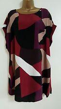 NEW Plus Size 16-28 Colour Block Purple Black Red Tunic Top Blouse